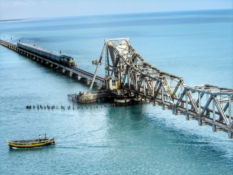 Train over Pamban Rail Bridge Rameshwaram Tamilnadu